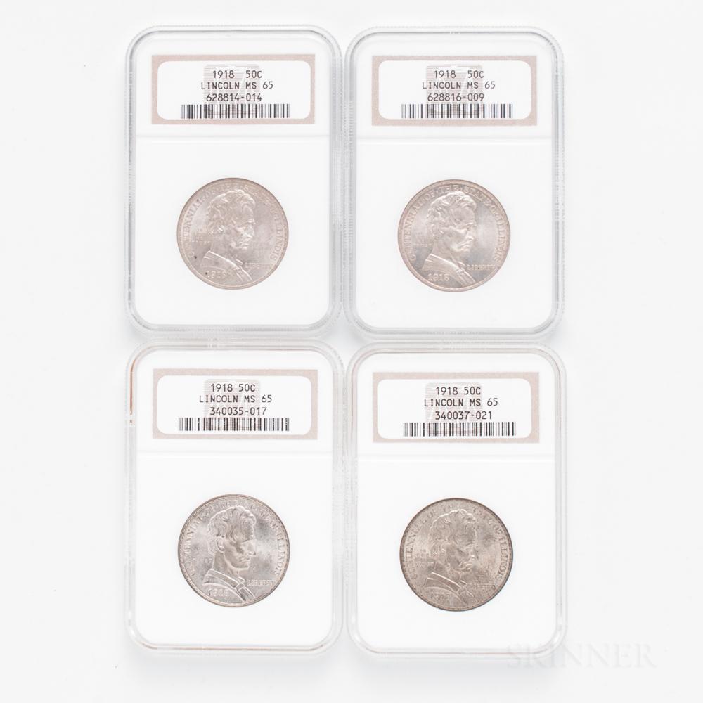 Four 1918 Lincoln Commemorative Half Dollars, NGC MS65.     Estimate $400-600
