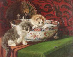 Sidney Lawrence Brackett (American, 1852-1910)  Kittens in a Bowl