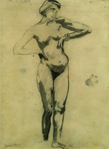 Jerome S. Blum (American, 1884-1956)    Standing Nude with Bangle Bracelets