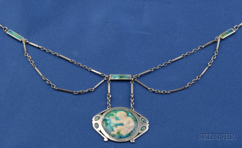 Arts & Crafts Silver and Enamel Pendant Necklace