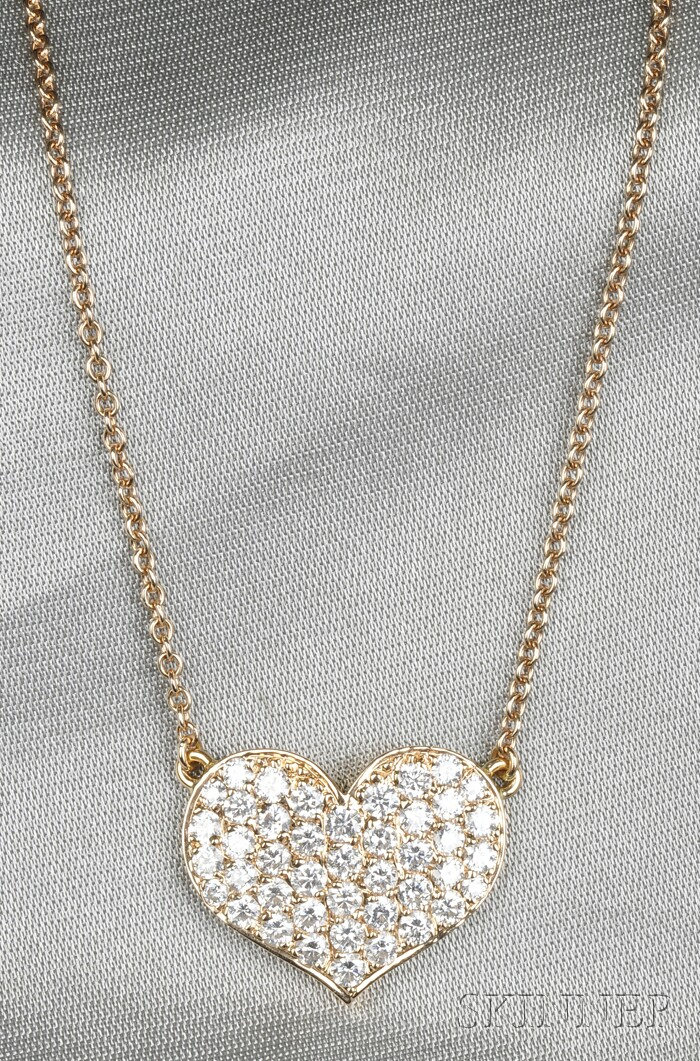 18kt Rose Gold and Diamond Heart Necklace