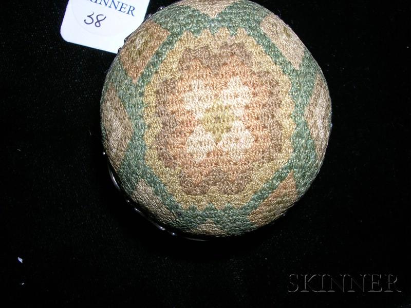 Needlework and Silver Pendant Pincushion