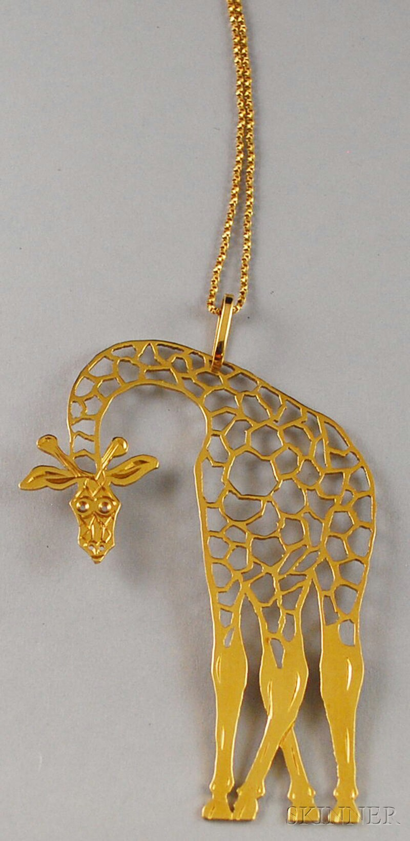Large 18kt Gold Giraffe Pendant Necklace