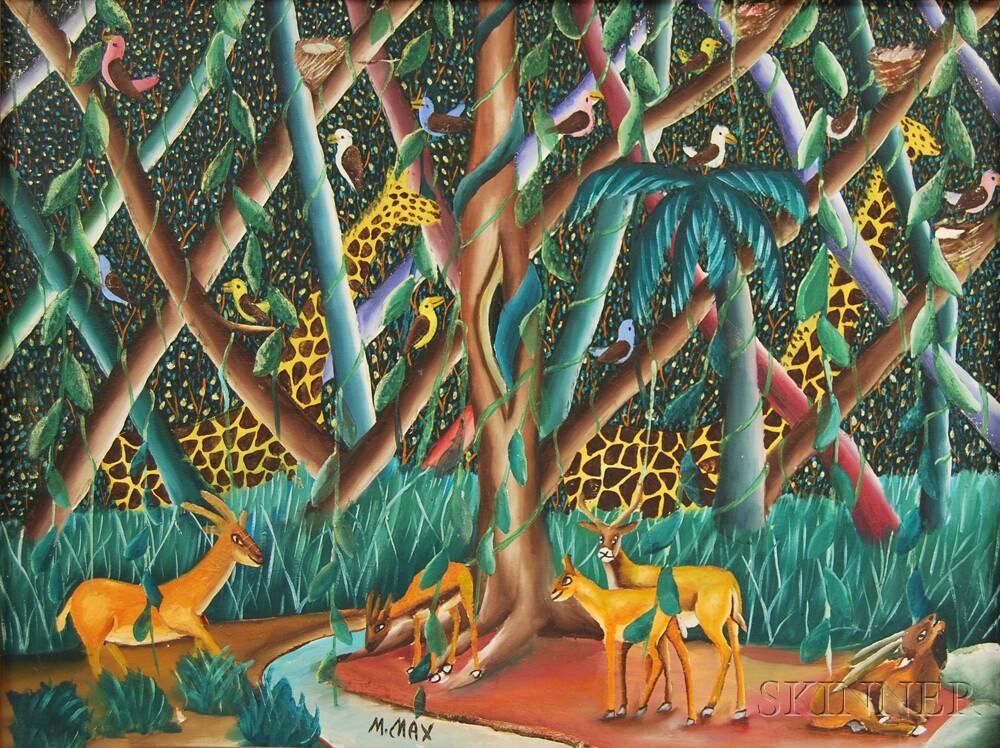 Haitian School, 20th Century      Jungle Scene with Wild Animals.