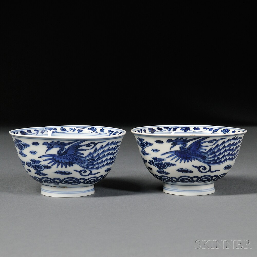 Pair of Ming-style Blue and White Bowls