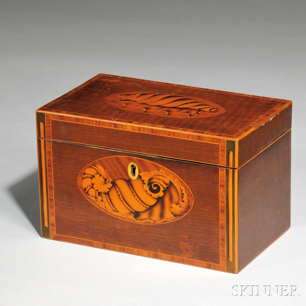 George III Mahogany Veneer Tea Caddy