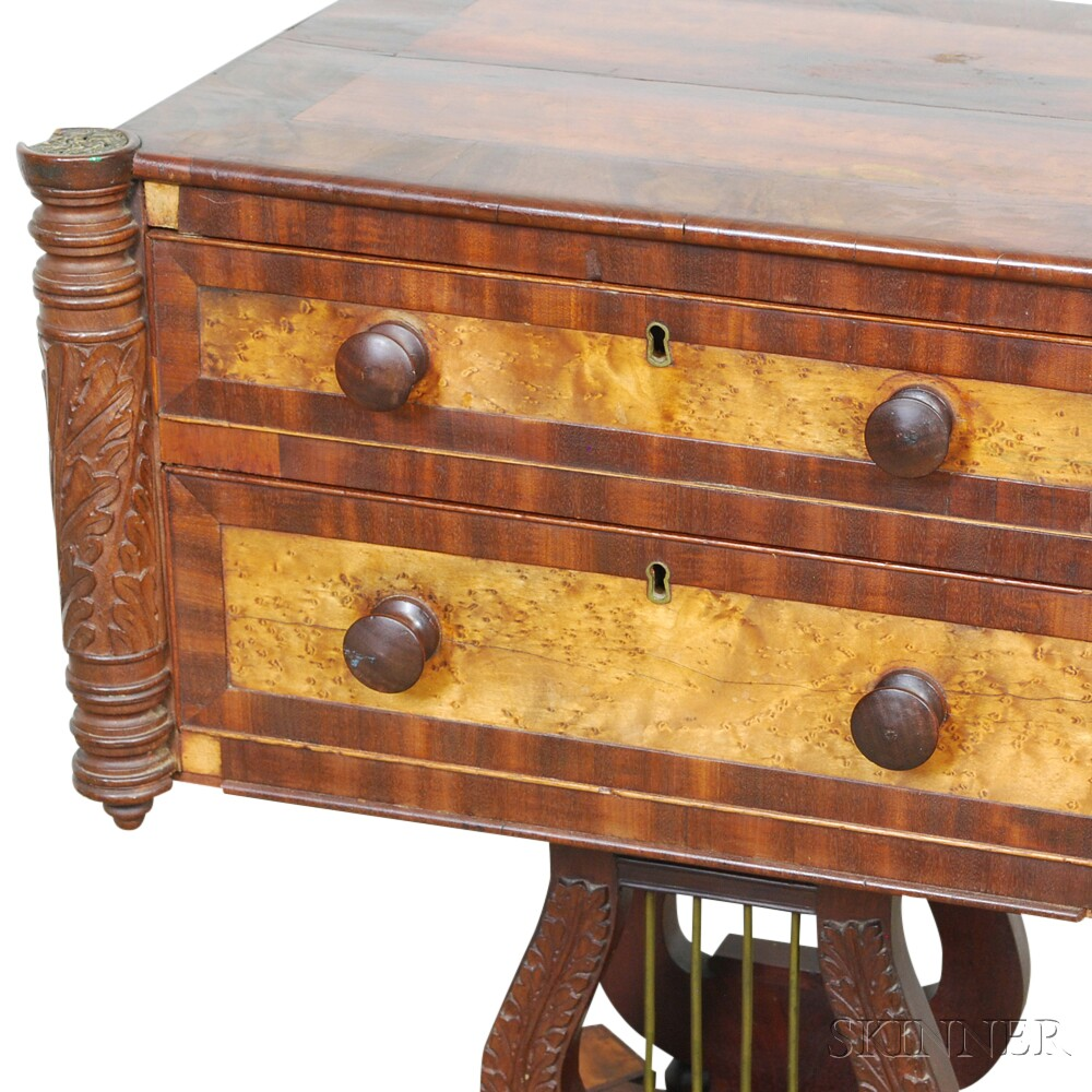 Federal Mahogany Carved and Bird's-eye Maple Veneer Two-drawer Lyre-base Worktable