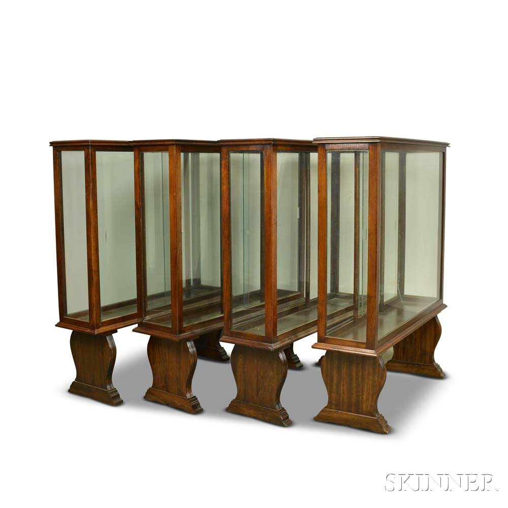 Four Large Mahogany and Glass Ship Model Display Cases