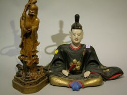 Japanese Carved and Painted Wood Figure of a Priest and a Chinese Carved Soapstone