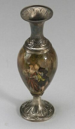 French Enamel and Silver Mounted Bud Vase
