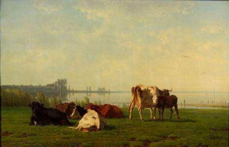 Pieter Stortenbeker (Dutch, 1828-1898)    Pasture with Cattle by a Quiet Inlet