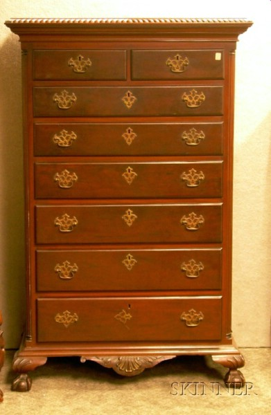 Chippendale-style Carved Mahogany Tall Chest.