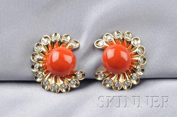 18kt Gold, Coral, and Diamond Earclips, Aletto Bros.