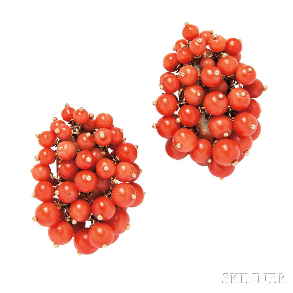 14kt Gold and Coral Bead Earrings