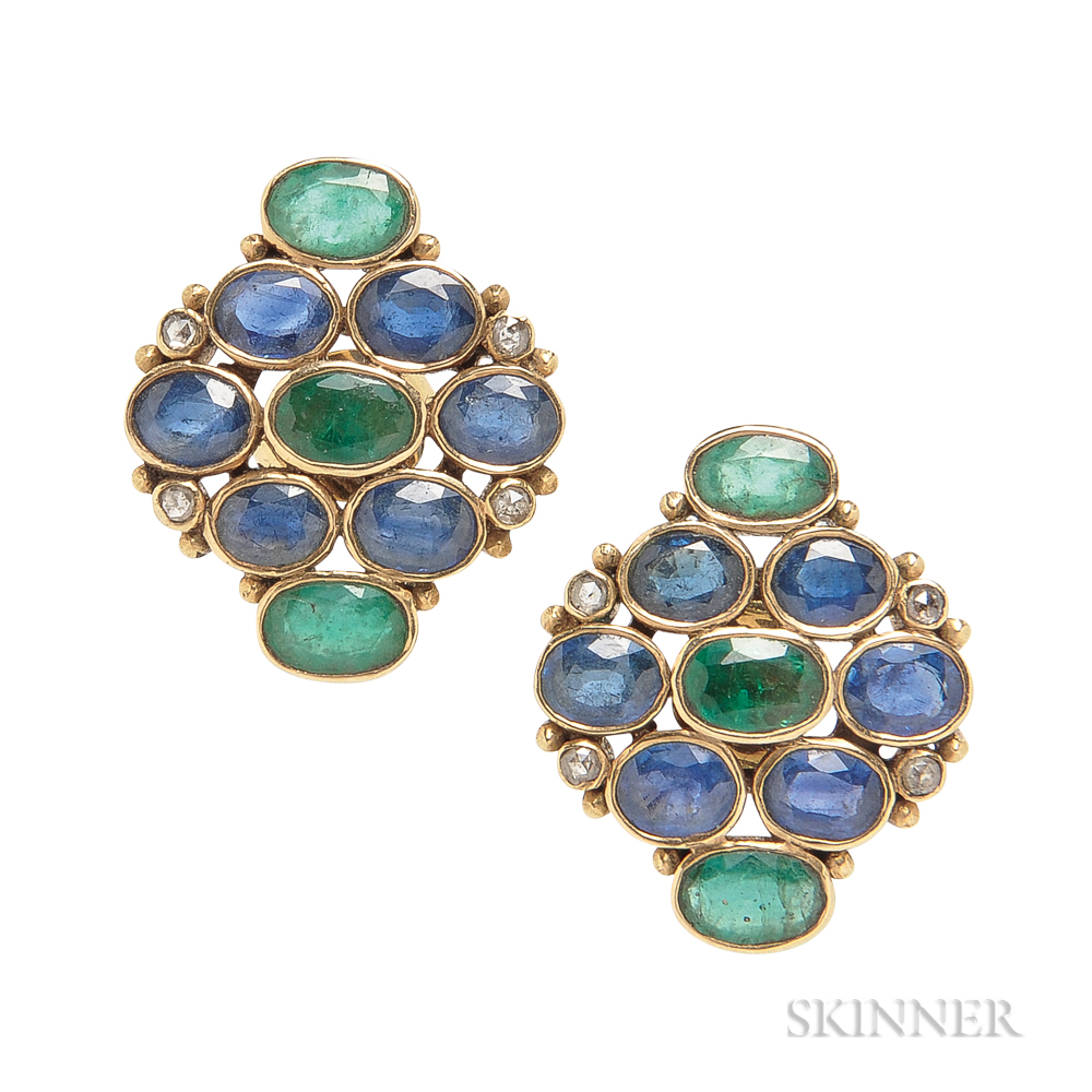18kt Gold Gem-set Earrings