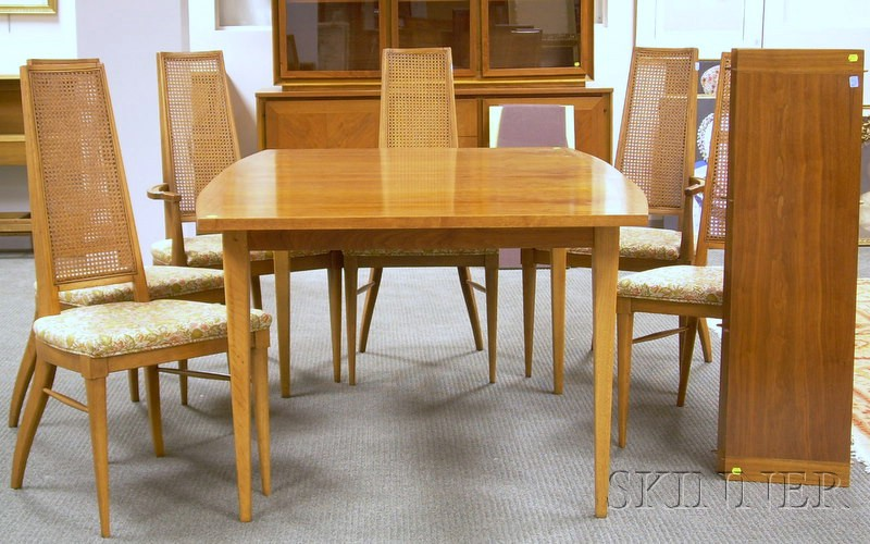 Lane Modern Walnut Dining Table And A Set Of Six Dining Chairs Sale Number