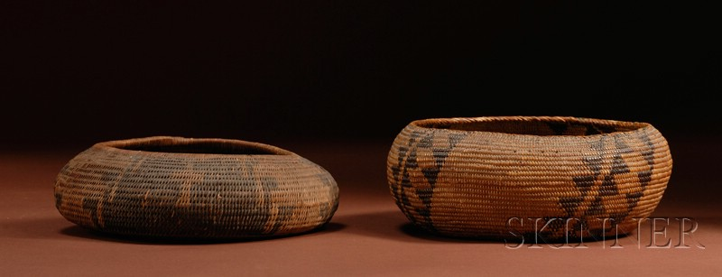 Two Coiled California Basketry Bowls