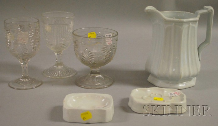 Three Pieces of Ironstone and Three Colorless Pressed Pattern Glass Items