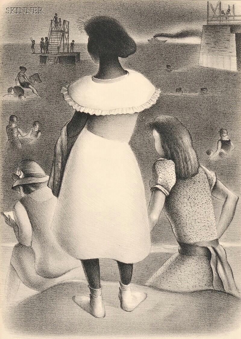 Simkha Simkhovitch (Russian/American, 1893-1949)      Two Genre Scenes:  At the Beach