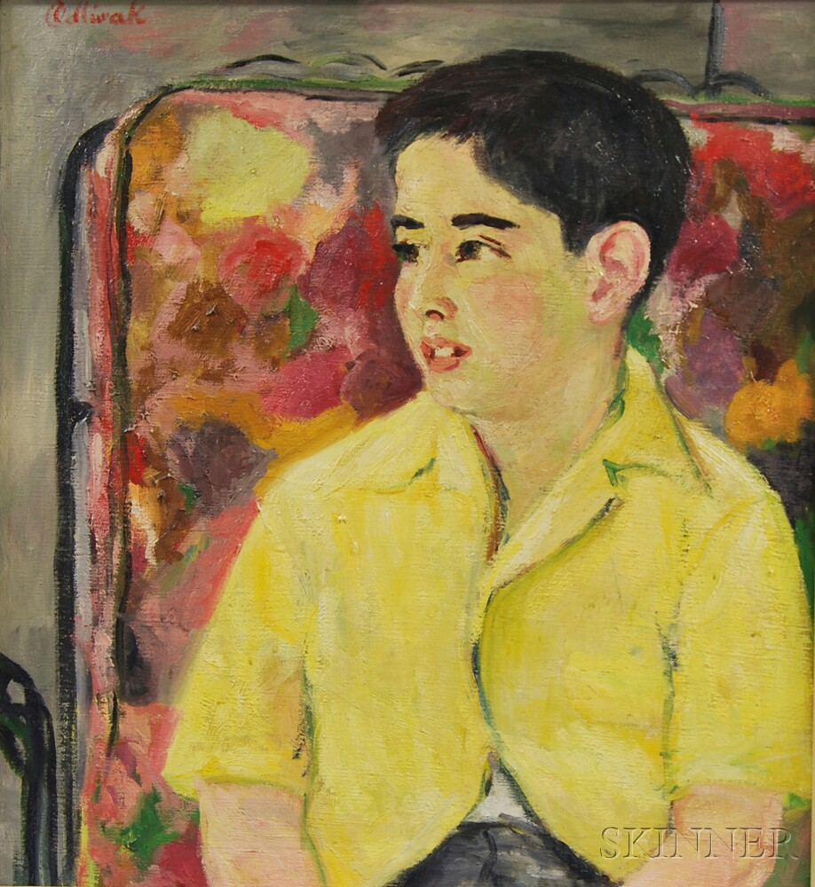 Eva Odlivak (American, 1919-2013)      Portrait of a Boy in a Yellow Shirt.