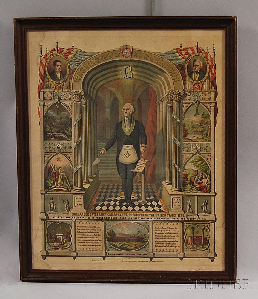 Framed Hand-colored Engraving of Washington as a Freemason