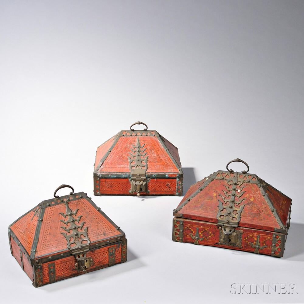 Three Lacquered Malabar Boxes