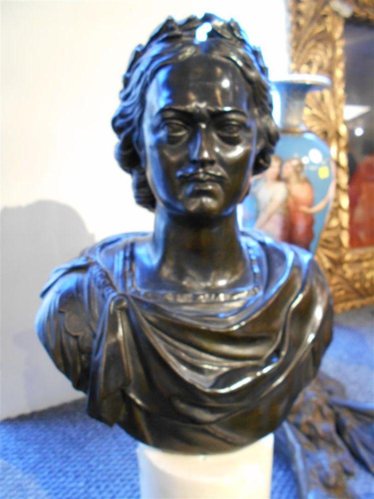 French School, Late 19th/20th Century,       Bronze Portrait Bust of a Roman Statesman