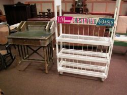 Chesterfield/L & M/Oasis Cigarette Retail Painted Wood Display Rack and a Turn of the Century Rope-Wrapped Writing Desk.