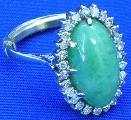 Cabochon Jade and Diamond Ring.