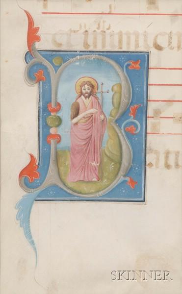 (Illuminated Manuscripts), Framed Illuminated Antiphony Leaf and Fragment