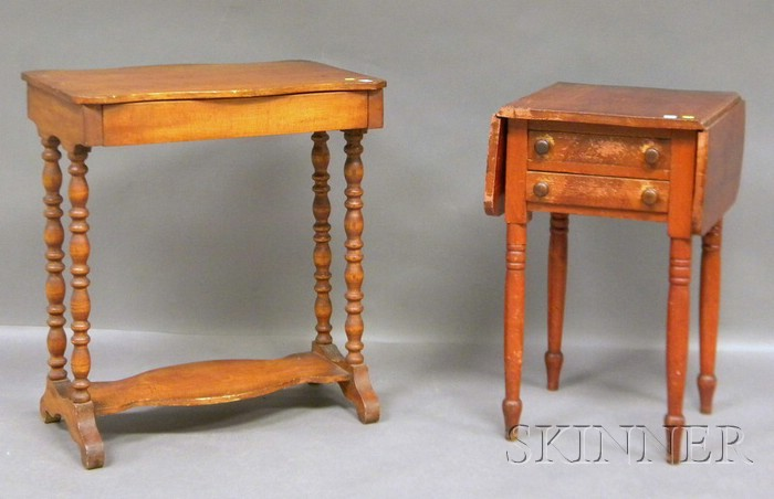 Pine and Maple Serpentine-top Table with Drawer and a Grain Painted Drop-leaf Two-drawer Work Table.