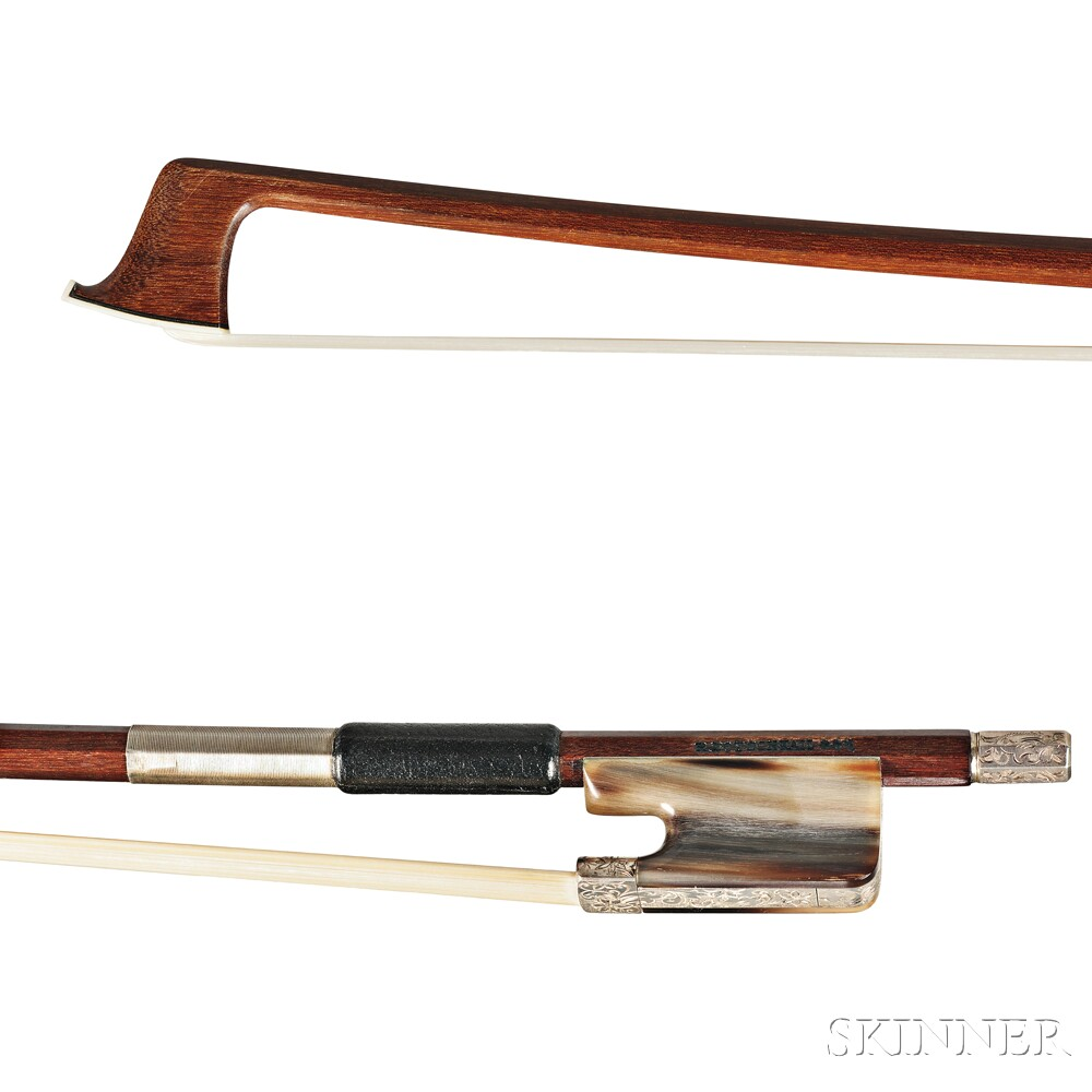 German Engraved Silver-mounted Viola Bow