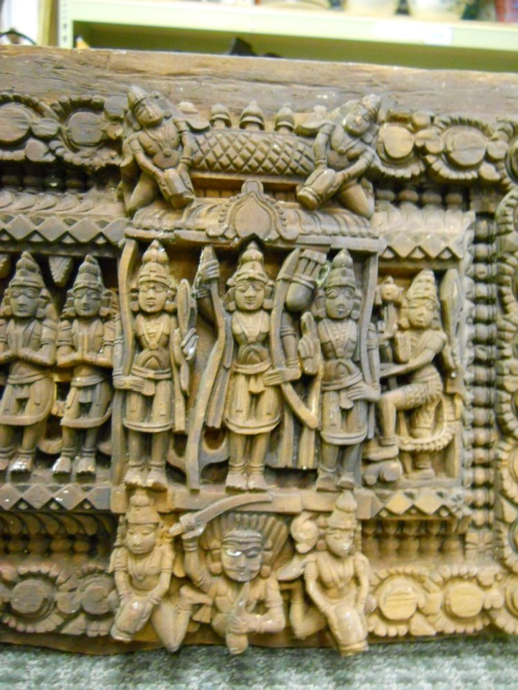 Two Carved Wood Lintel Friezes