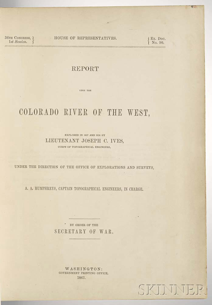 Ives, Joseph Christmas (1829-1868) Report upon the Colorado River of the West.