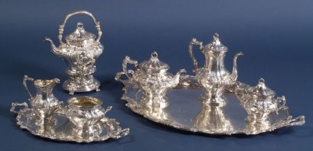 Gorham Sterling Rococo Revival Eight Piece Tea Service and Coffee Service