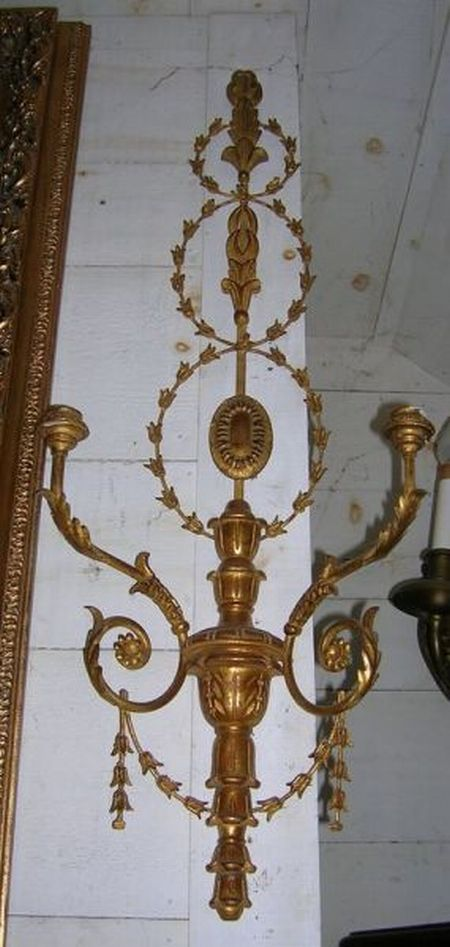 Pair of Adams-style Giltwood and Metal Two-Light Candle Wall Sconces