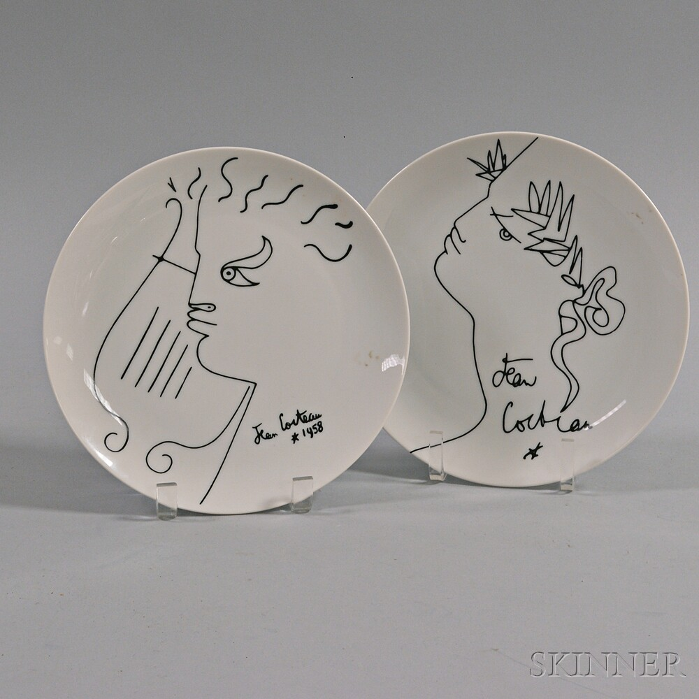 Two Limoges Porcelain Plates Depicting Jean Cocteau Designs