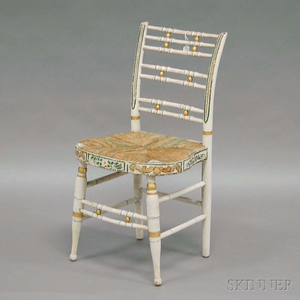 Set of Four White-painted and Polychrome-decorated Classical Fancy Chairs