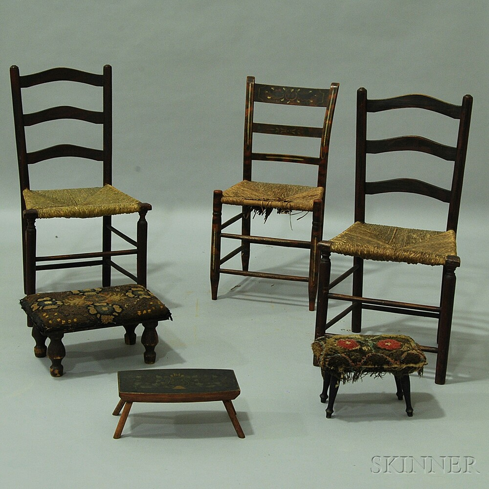 Three Chairs and Three Footstools