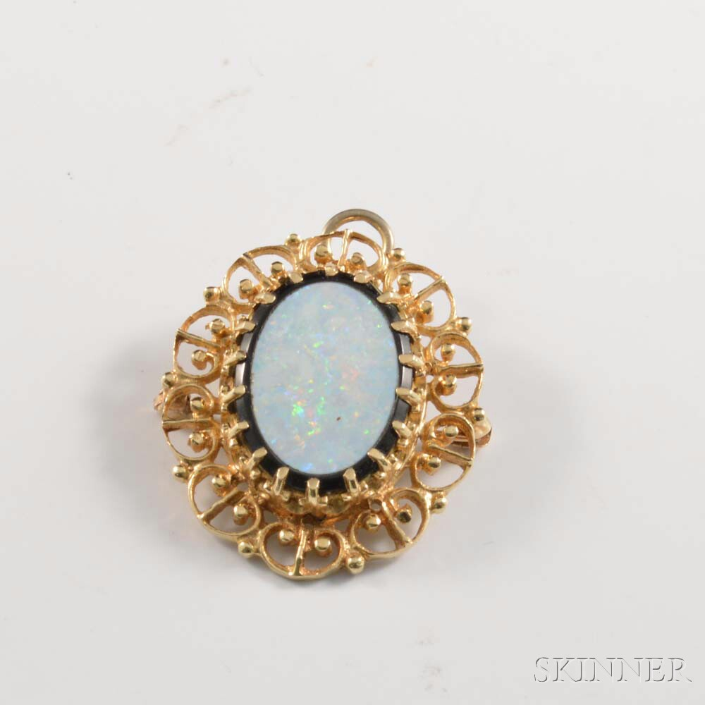 14kt Gold and Opal Doublet Pendant/Brooch