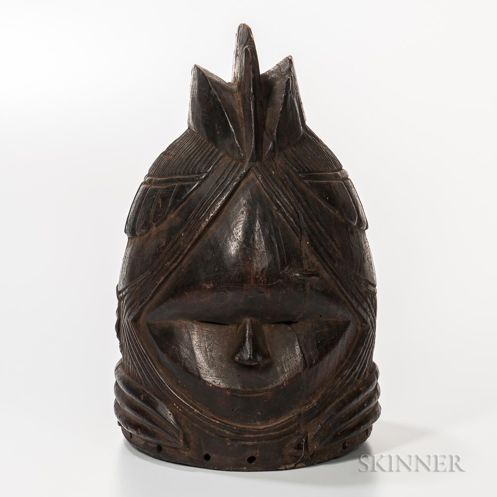 Mende-style Carved Wood Helmet Mask