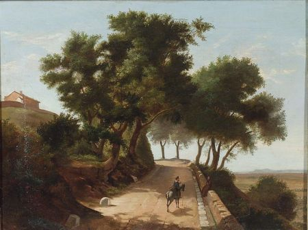Lot of Two Landscapes:    Continental School, 19th Century, The Woodland Road;  Italian School, 19th   Century, A Meeting on the Road.