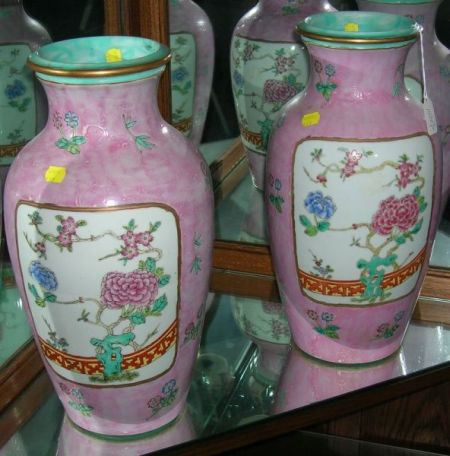 Pair of Modern Chinese Export Porcelain Vases