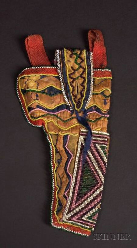 Rare Western Great Lakes Beaded and Cloth Appliqué Hide Holster