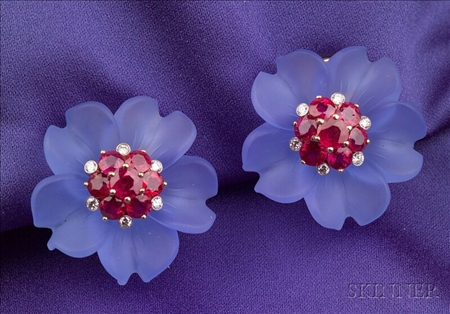 Stained Rock Crystal, Ruby, and Diamond Flower Head Earclips, Aletto Bros.