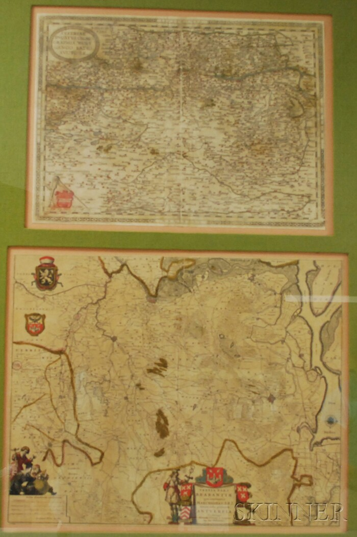 Four Framed 17th Century European Hand-colored Maps