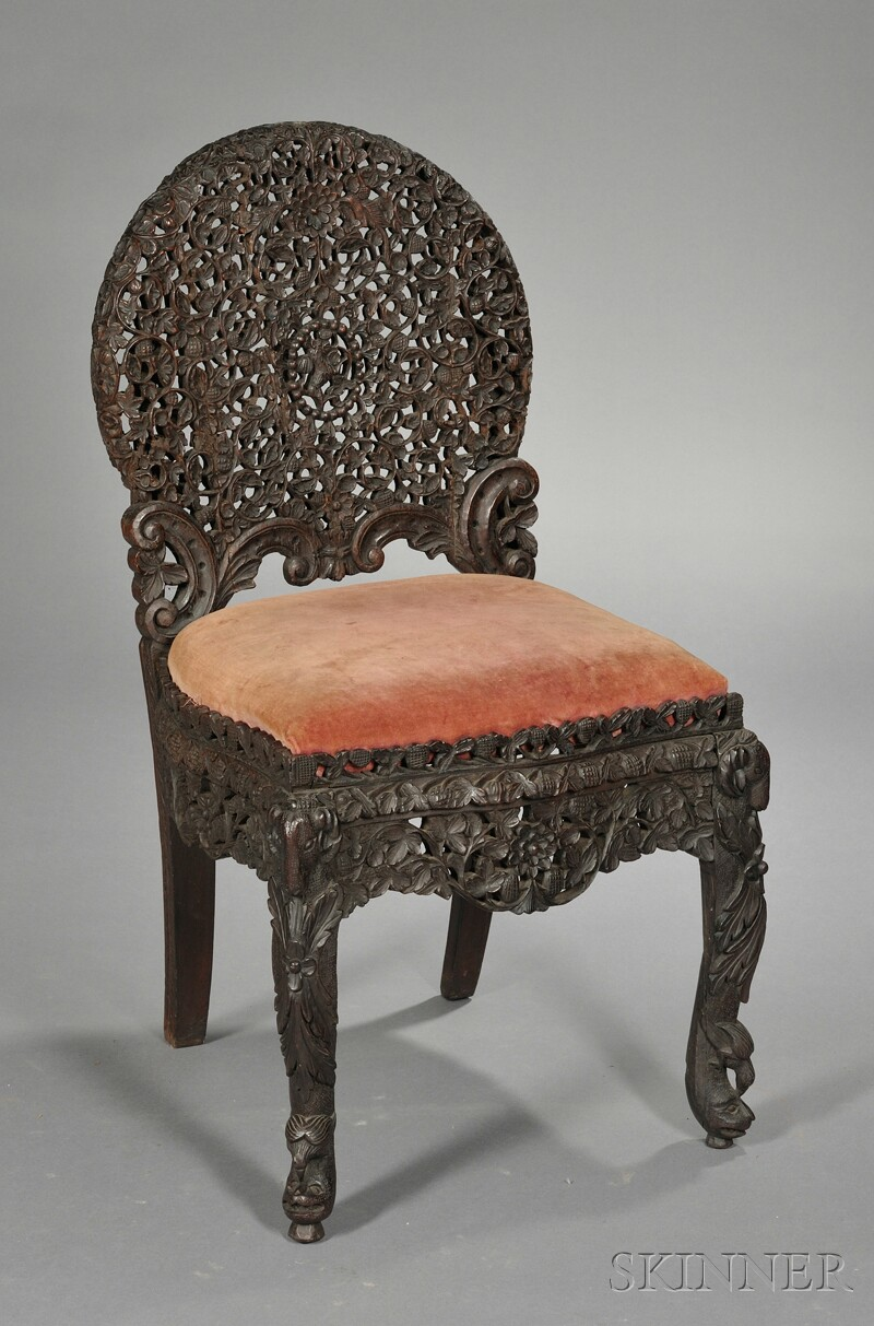 Carved Teak Side Chair