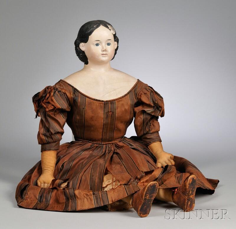 Large Papier-mache Greiner Doll