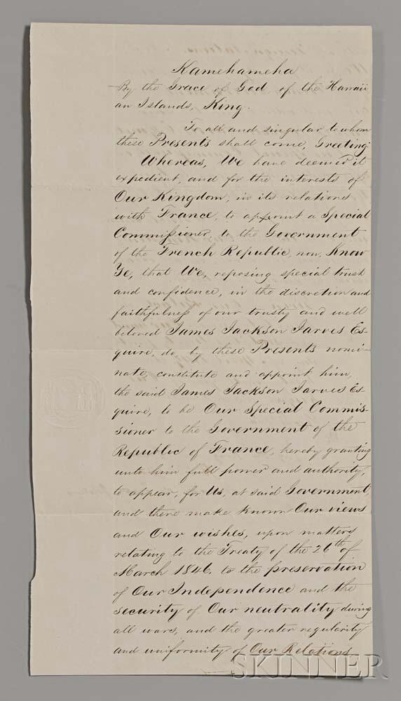 Kamehameha III, King of Hawaii (1813-1854) Document Signed, Honolulu, 24 April 1849.