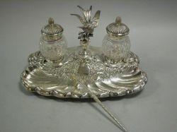 British Victorian Silver Plated Standish